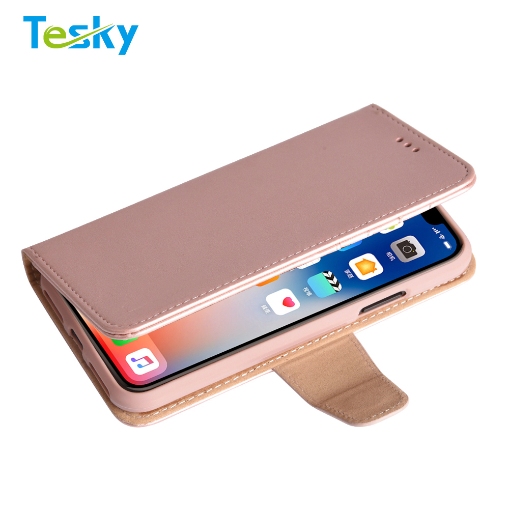 Factory OEM Wholesale High-quality Flip Leather Wallet Phone Case for iPhone X with Lanyard
