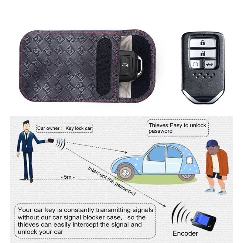 Factory OEM Wholesale Leather RFID Car Key Signals Blocker Case with key hook Antitheft Car Keyless Pouch