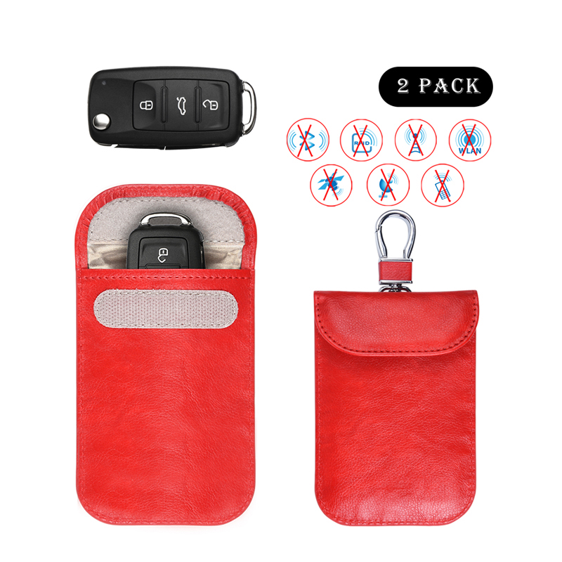 Factory Synthetic Leather Rfid Signal Blocking Keyless Entry Fob Pouch With Card Holder