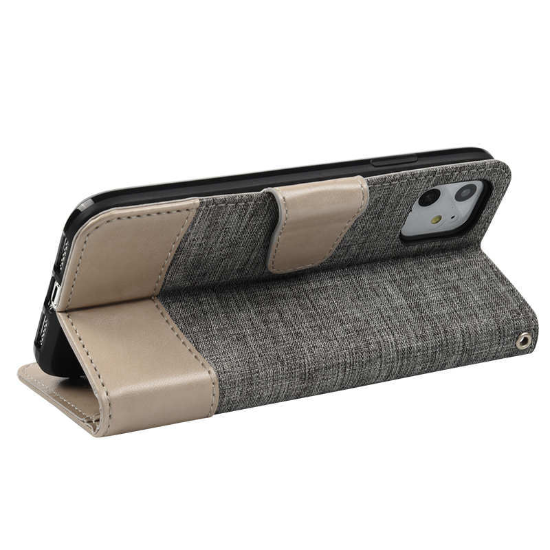 TPU PU Leather Fabric- Like Texture Shockproof Kickstand Flip Wallet Card Slots Cell Phone Case For iPhone 11